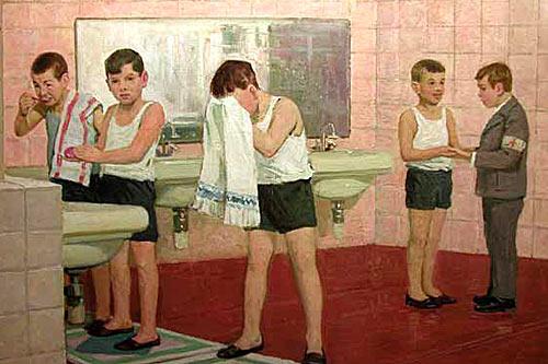 Александр Завьялов. мальчики умываются. 1966-67
