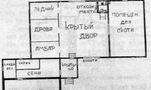 План крестьянского двора с отхожим местом.